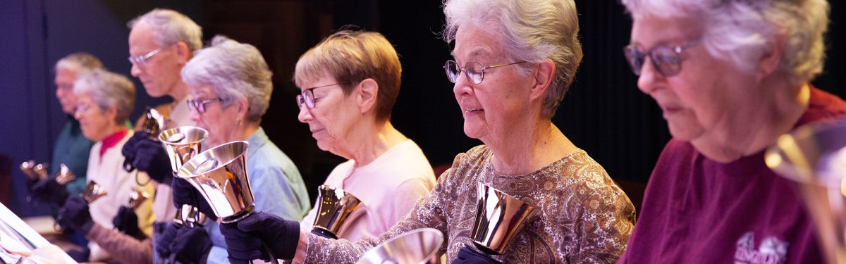 Large group bell ringers rehearsal