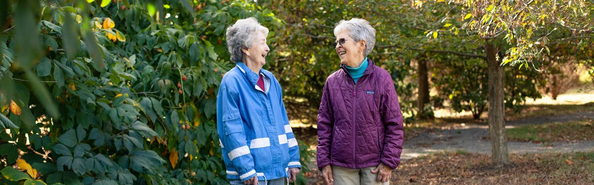 Independent living residents walk around the 96 acre pastoral campus
