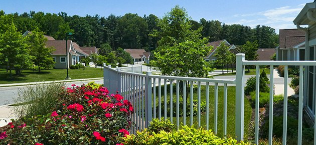 Exterior landscape with bright colorful flowers at White Horse Village