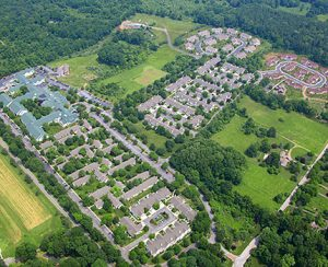 Aerial photo of the pastoral senior living campus at White Horse Village