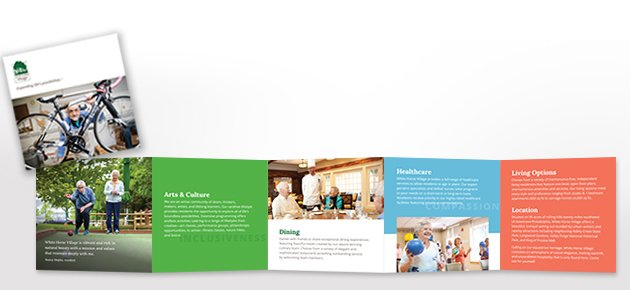 Preview of the the bright and engaging brochure of White Horse Village