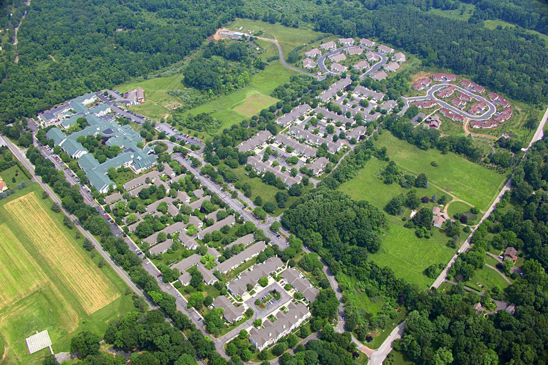 Aerial photo of the scenic White Horse Village senior living community